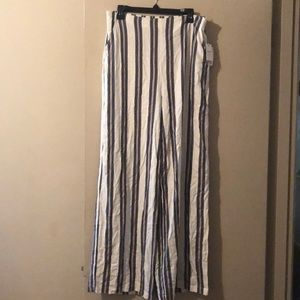 Ivory and indigo striped long woven pants